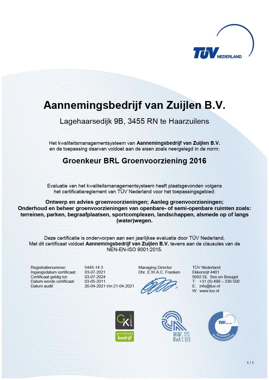 certificaat groenkeur