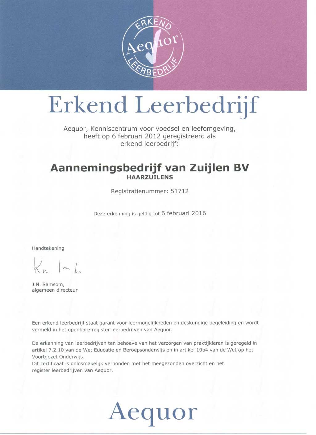leerbedrijf certificaat